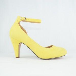 Women's Almond toe buckled ankle strap Heels